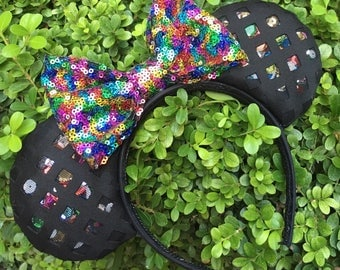 Hidden Sequin Black Mesh Mouse Ears