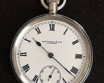 Vintage Thomas Russell & Son Solid Silver Pocket Watch 1917