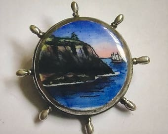Antique Hand Painted Enamelled Ships Wheel Shaped Sterling Silver Brooch