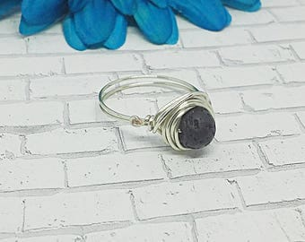 Lava Bead Wire Wrapped Ring, Lava Bead Ring, EO Ring, Essential Oil Ring, Lava bead, Wire Wrapped Ring, Ring, Wire Ring, Silver Plated Ring
