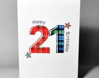 Tartan Number 21 Birthday Card WWTN21