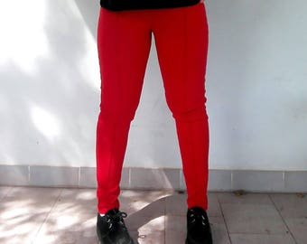 Red Comfy Glam Pants Woman ONE SIZE L