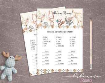Woodland Animals Whos My Mommy Quiz Baby Shower Game Cute Animals Fox Deer Squirrel Gender Neutral Printable Trivia Quiz Activity - CG007