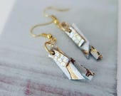 White, Silver, & Gold Leather Earrings (short)