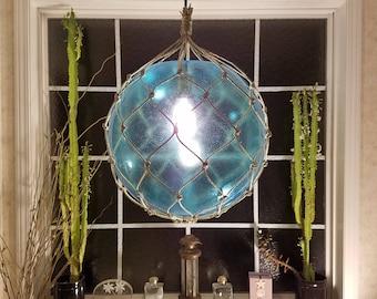 "Large Nautical Light Pendant, 16"", Aqua Blue, Tiki, Fishermans Float, Rope Lamp, Beach Decor, Nautical Home Decor, Fishnet, Sea, Sailing"