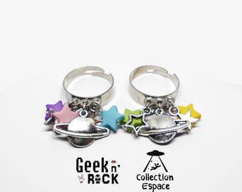 Planet space Galaxy alien charm ring