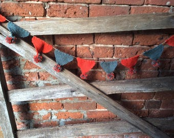 Hand knitted bunting, pom Pom bunting, bunting, party bunting, rustic bunting, valentines, Easter, Mother's Day