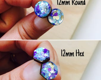 12mm Ocean Glitter Resin/Bamboo Stud Earrings • Round • Hexagon • Surgical Steel • Hypoallergenic • Glossy • Dome • Butterfly Clasp
