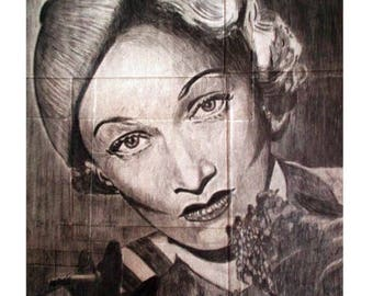 Marlene Dietrich. Original pencil drawing. Graphite drawing. Original drawing Marlene Dietrich. Gift present.