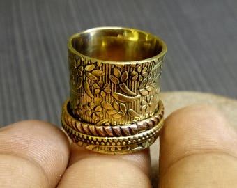 Flower Spinner rings | Two Tone Two Spinner band rings | Birthday gift rings | Brass bands | Wide prayer rings | Christmas gift ring | R59
