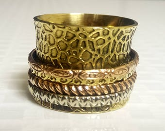 Texture brass ring | Tribal wide Ring | Banjara Spinner Ring | Valentine day Gift Band Ring | 4 Spinning Ring | Love Gift Jewelry Ring |R128
