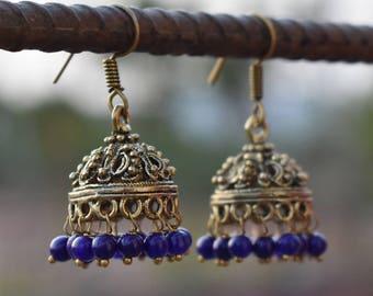 Blue beads jhumka earrings   Ethnic Indian Earring   Traditional jewelry earring   Wedding Wear Earring   Yellow gypsy Earring   E102