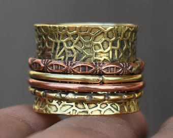 Brass and copper spinner rings | Ethnic fusion spinning ring | Valentine days gift ring | Everyday wear rings | Yellow bands rings | R214