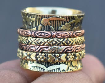 Birthday gift good luck spinner band | brass spinning ring | Bohemian rings | Indian banjara jewelry ring | 2 tone metal jewelry ring | R230