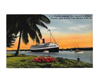 Pre-Castro Cruise Ship to Havana, S.S. Florida, from Miami to Cuba, 1930s unused postcard