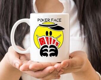 Poker Face Coffee Mug, Poker Player Gift, Gambling Coffee Mug, Poker Mug