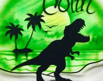 Airbrush Green  Tyrannosaurus T-shirt, Airbrush Tyrannosaurus tshirt, Airbrush tshirt, Tyrannosaurus T-shirt, Dinosaur T-shirt, Airbrush
