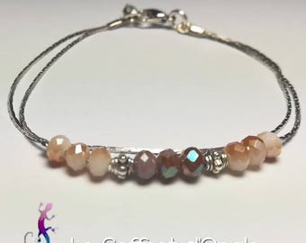 Minimalist bracelet with red Czech Crystal beads