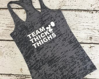 Team Thick Thighs Racerback Burnout Workout Tank Weightlifting Squat Ladies Adult Women