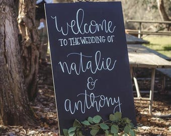 Welcome Wedding Chalkboard Sign, Handlettered, Wedding Calligraphy
