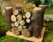 Miniature Fairy Garden Wood Pile, Stacked Firewood Logs, Miniature Campfire or Firepit Accessory, Mini Fairy Garden Supply & Accessories