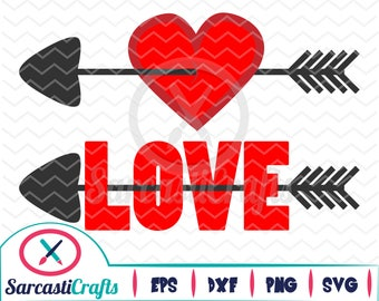 Love and Heart Arrow - Valentine's Day Graphic - Digital download - svg - eps - png - dxf - Cricut - Cameo - Files for cutting machines