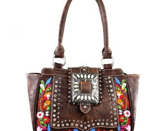 Embroidered Southwestern Concealed Carry Leather Purse