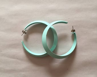 mint green half moon hoop earrings // 80s large metal hoops