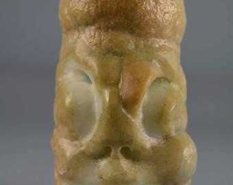 Stalagmite Hemimorphite Skull Figurine ..... handcarved by Artist. Unique Piece !