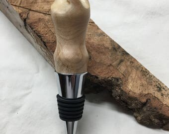 Live edge maple burl bottle stopper