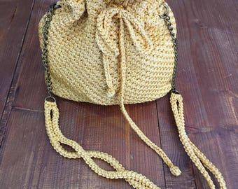 Handmade crochet yellow macrame handbag
