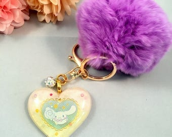 Cinnamoroll with Purple Pom Pom Bag Charm
