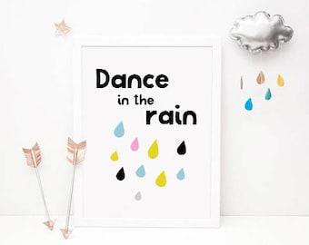 50% SALE dance in the rain, dance in the rain decor, bedroom wall decor, kids wall decor, kids bedroom wall decor, dance rain decor, dance