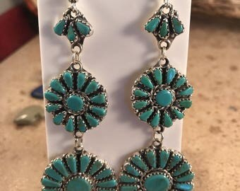 Navajo Sterling Silver & Turquoise Cluster Dangle Earrings Signed
