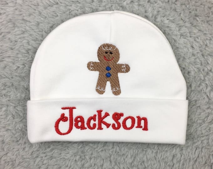 Personalized baby hat with Gingerbread man - preemie hat, Christmas baby boy, NICU clothes, baby shower gift, newborn boy gift, take home