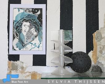 Mother & Child, authentic drawing, Sylvia Thijssen, Dutch Artist