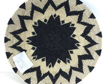Zienzele Basket / Handmade Woven Plate / 20 inch / Zimbabwe Plate / Black White Pattern / Ethnic decor / Wall hanging