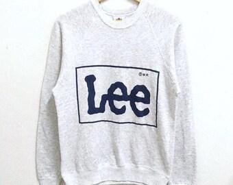 RARE!!! Vintage Lee Big Logo SpellOut Crew Neck Light Grey Colour Sweatshirts Hip Hop Swag M Size