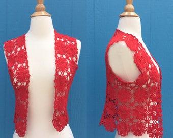 1970s crochet vest/hippie/boho/bohemian/red/size small/size medium