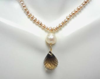 Pearl and Faceted Teardrop Smokey Quartz Briolette Necklace