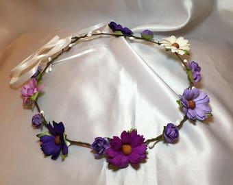 Purple Lilac flower crown, bridal head piece, flower girl, childrens occasion flower wreath, wedding hair accessories, festival head dress