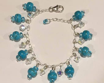 Natural Turquoise and Blue Topaz Bracelet
