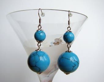 Dangle Balls Earrings, Silver Tone Earrings with Faux Turquoise Beads, Boho, Country, Bohemian, Southwestern, Blue Jewelry, Gift for Mom