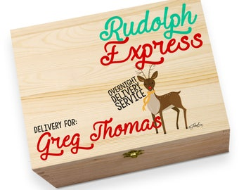 Rudolph Overnight Delivery Personalised Wooden Printed Christmas Eve Box