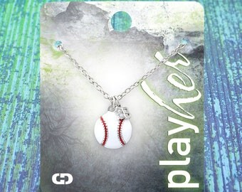 Customized Baseball Third Base Enamel Necklace - Personalize with Jersey Number, Heart Charm, or Letter Charm! Great Baseball Mom Gift!