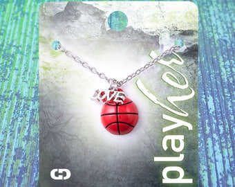 Customizable! Basketball Enamel Love Necklace - Personalize with Jersey Number, Heart Charm, or Letter Charm! Great Basketball Gift!