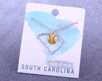 Customizable! State of Mine: South Carolina Softball Enamel Necklace - Great Softball Gift!