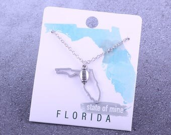 Customizable! State of Mine: Florida Football Silver Necklace - Great Football Gift!