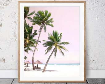 Palm Beach, Tropical Print, Palm Trees, Blush Pink Wall Decor, Australia,