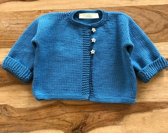 Baby Cardigan Blue Sweater Hand Knitted for either Baby Girl or Baby Boy Baby Gift